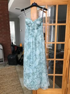 Jenny Yoo Blue Watercolor Luxe Chiffon - Padded In Color Formal Bridesmaid/Mob Dress Size 4 (S)