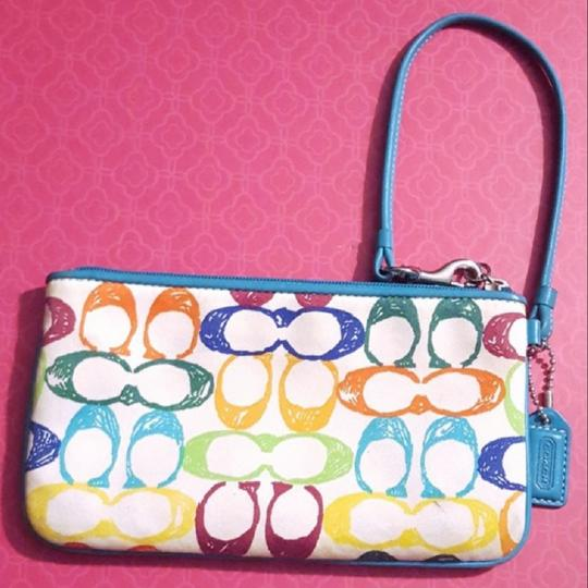 Coach Monogram Leather Colorful Rare Wristlet in white and blue