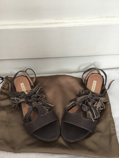 Pura Lopez Fun Dynamic Tassels All Leather Classy Chocolate brown Sandals