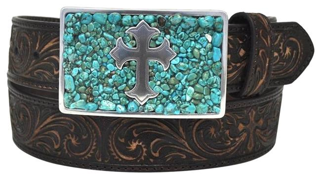 Item - Turquoise/Brown Cross M Buckle Scroll Embossed Leather Belt