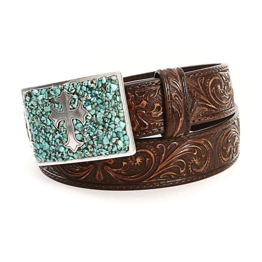 Nocona Nocona Turquoise Cross M Buckle Belt Scroll Embossed Leather Brown