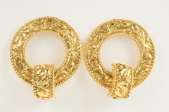 Chanel Chanel Gold Engraved Hoop Earrings