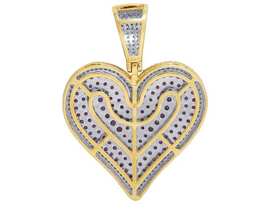 Jewelry Unlimited 10K Yellow Gold Real Ruby Diamond Heart Pendant 3.45 CT 1.75