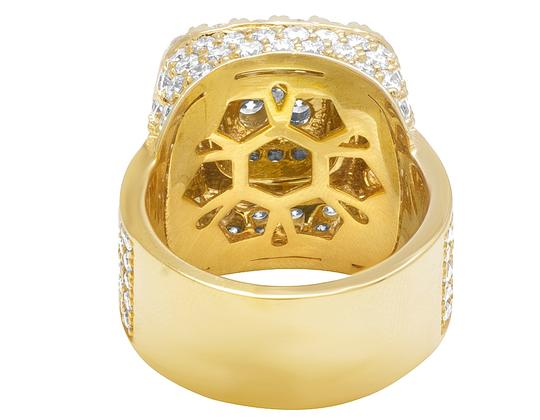 Jewelry Unlimited 14K Yellow Gold Square Dome Diamond Pinky Ring 7.35 Ct 20MM