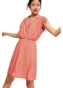Anthropologie short dress Coral Maeve Ruched Rayon Ruched Shoulder Shirtdress on Tradesy