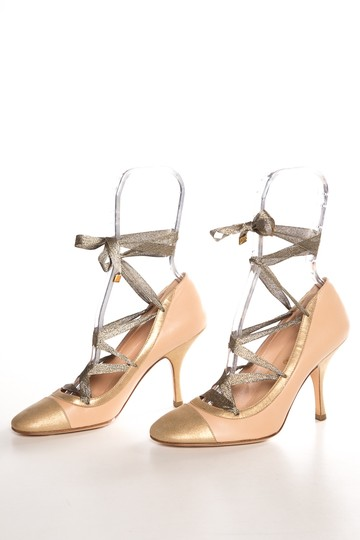 Chanel Nude & Gold Pumps