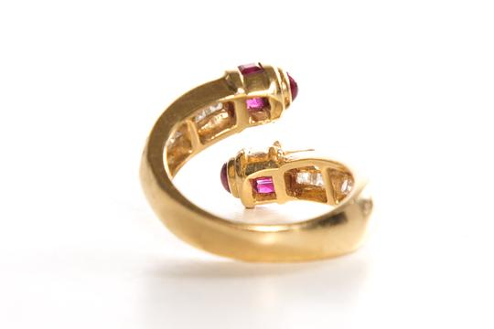 N/A Ruby & Diamond 18k Yellow Gold Ring