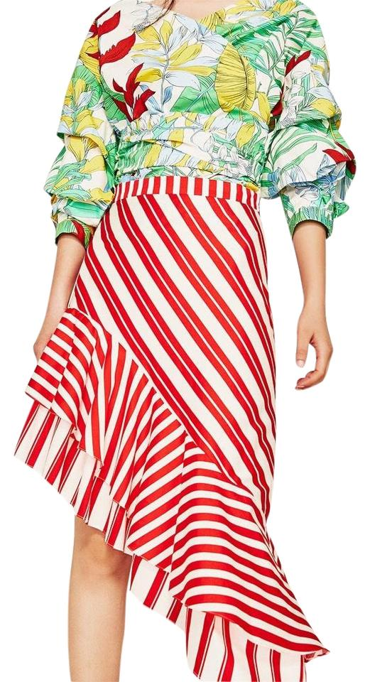 ccc22c45ac Zara Frill Red and White Striped Skirt Size 4 (S, 27) - Tradesy