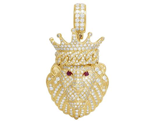 Preload https://img-static.tradesy.com/item/23143404/jewelry-unlimited-14k-yellow-gold-men-s-genuine-diamond-iced-ruby-lion-pendant-4ct-21-charm-0-0-540-540.jpg