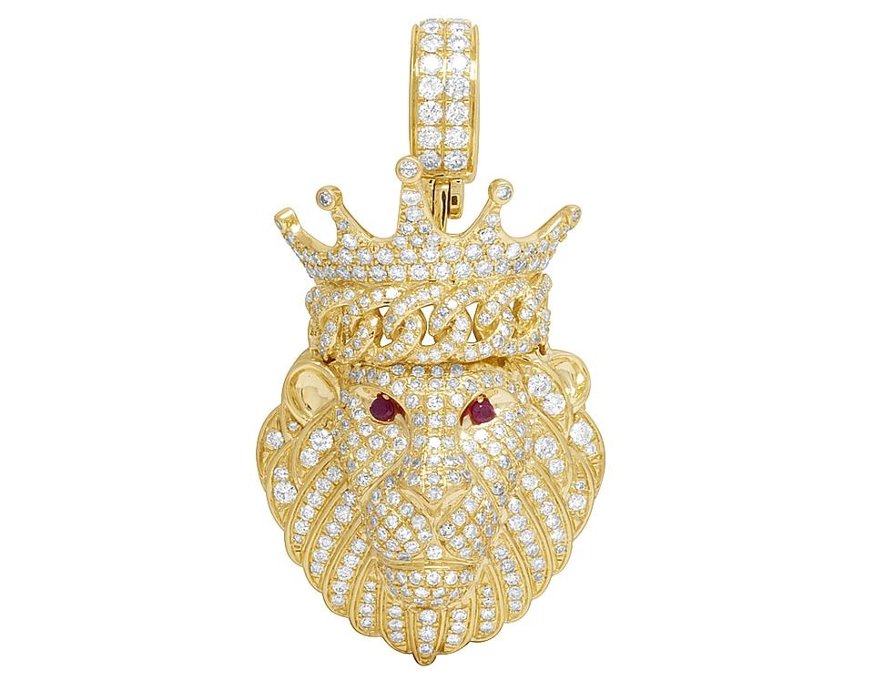 Jewelry unlimited 14k yellow gold mens genuine diamond iced ruby jewelry unlimited mens 14k yellow gold genuine diamond iced ruby lion pendant 4ct mozeypictures Choice Image