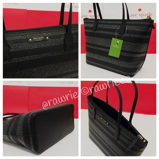 Kate Spade Glitter Holiday Striped Tote in Black Silver