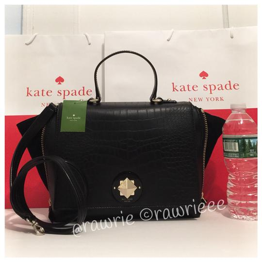 Kate Spade Exotic Leather Leather Shoulder Strap Trapeze Turnlock Satchel in Black
