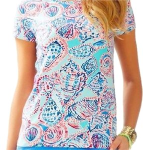 "Lilly Pulitzer T Shirt ""Shell me about it"". Aqua, navy blues & pinks"