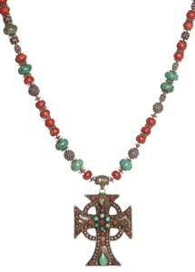 Rollande Coral & Turquoise Beaded Cross Pendant Necklace