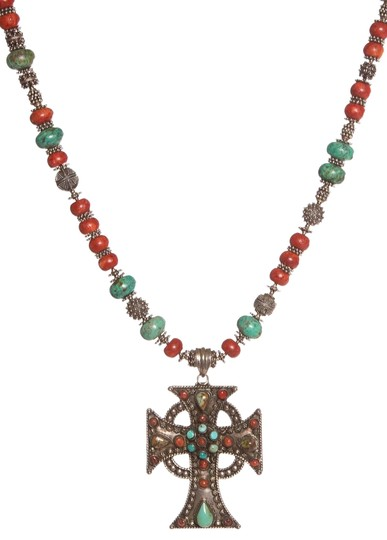 Preload https://img-static.tradesy.com/item/23143472/coral-and-turquoise-beaded-cross-pendant-necklace-0-1-540-540.jpg