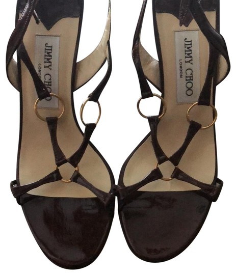 Jimmy Choo Patentleather Burgundy Brown Sandals