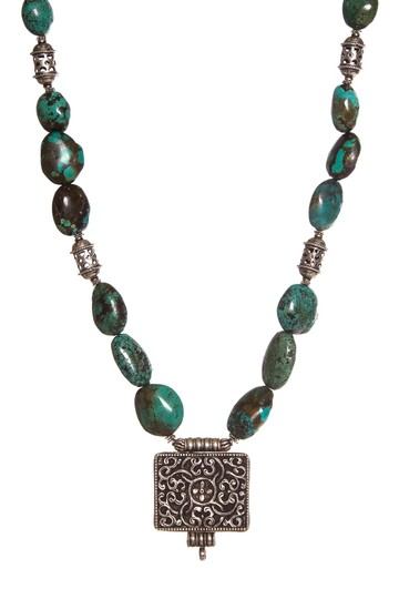 Preload https://img-static.tradesy.com/item/23143491/turquoise-and-silver-sterling-beaded-square-pendant-necklace-0-0-540-540.jpg