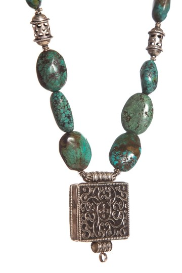 N/A Turquoise & Sterling Silver Beaded Square Pendant Necklace