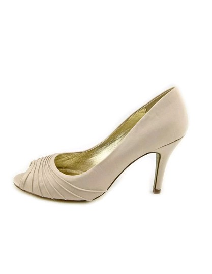 Adrianna Papell Wedding Formal Open Toe Satin Sandals Beige Pumps