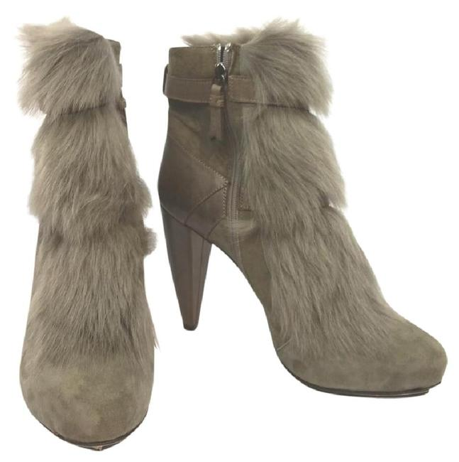 Item - Brown Faux Shearling Trim Leather M Boots/Booties Size US 7.5 Regular (M, B)