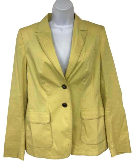 Preload https://img-static.tradesy.com/item/23143658/escada-yellow-cotton-blend-jacket-38-blazer-size-8-m-0-2-650-650.jpg