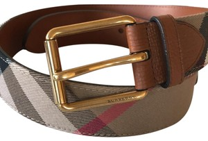 Burberry Burberry Mark House Check & Leather Belt, Russet (Brown) size 32/80