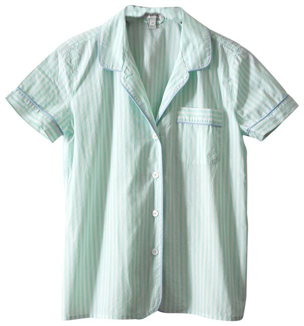 Preload https://img-static.tradesy.com/item/23143740/jcrew-mint-stripe-vintage-short-pajama-button-down-top-size-2-xs-0-1-650-650.jpg