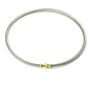 David Yurman David Yurman 3mm Buckle Choker Necklace in Sterling Silver with Gold