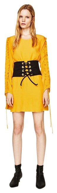 Preload https://img-static.tradesy.com/item/23143771/zara-yellow-mustard-frilled-long-sleeve-loose-fit-new-short-casual-dress-size-10-m-0-1-650-650.jpg