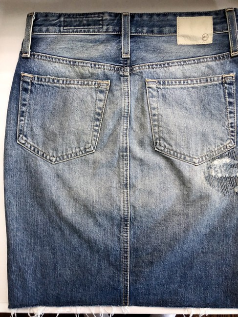 AG Adriano Goldschmied Pencil Waisted Distressed Skirt Blue Denim