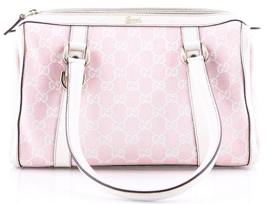 Preload https://img-static.tradesy.com/item/23143870/gucci-boston-white-monogram-pink-canvas-shoulder-bag-0-0-540-540.jpg