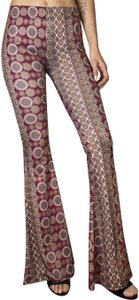 Daisy Del Sol Bell Retro Yoga Athletic Flare Pants Burgundy