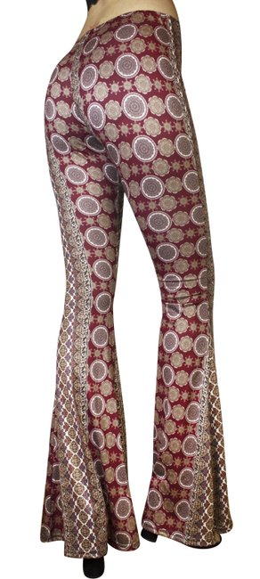 Daisy Del Sol Bell Yoga Workout Bohemian Flare Pants Burgundy