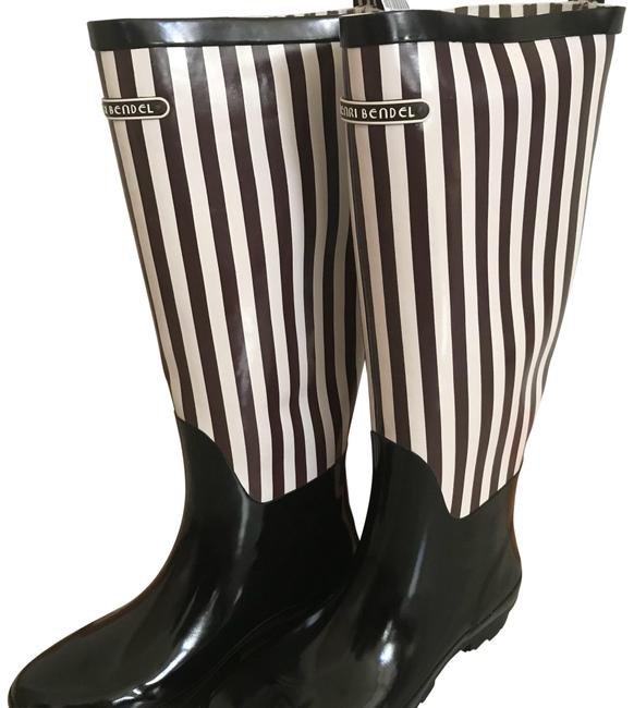 Item - Brown and White Striped Wellies Rain Boots/Booties Size US 8 Regular (M, B)