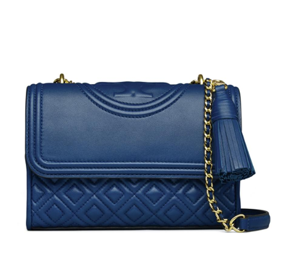 267fdf7a16273 Well-known Tory Burch Fleming Symphony Small Shoulder Cross Dark Blue  Leather YT89