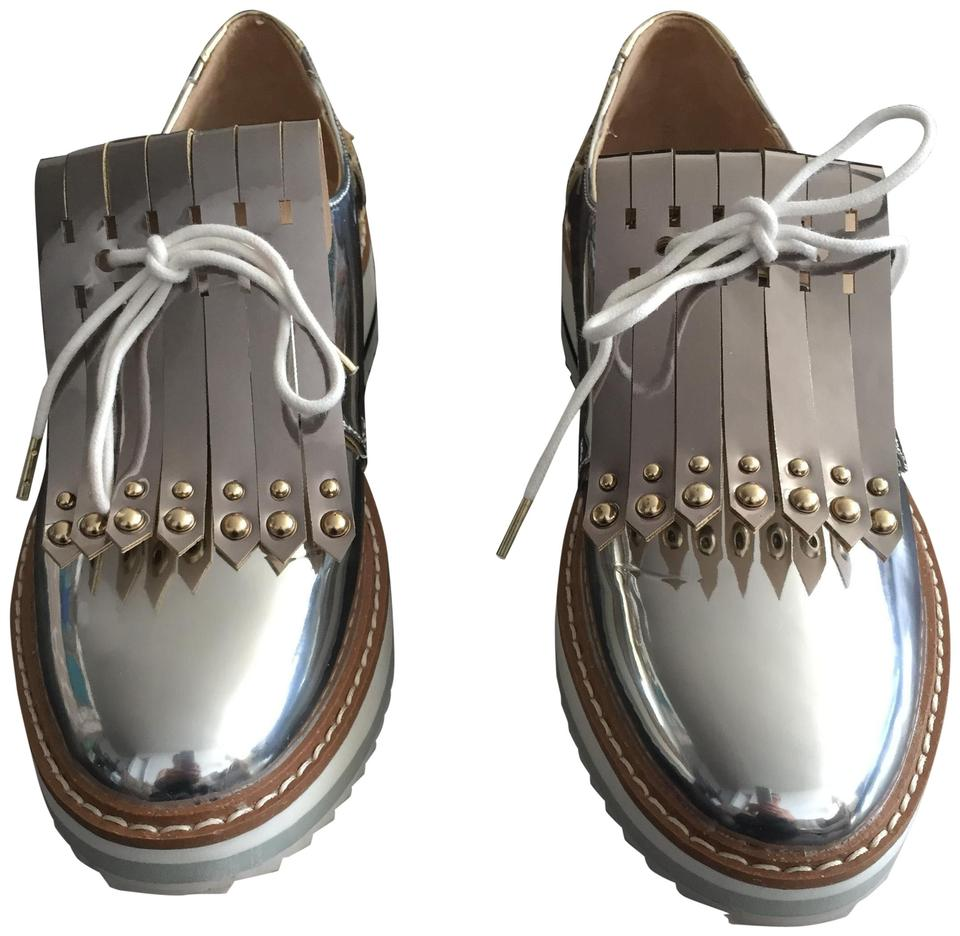 70786278b73 Zara Silver Woman Platform Brogues with Fringe Wedges Size US 6 ...