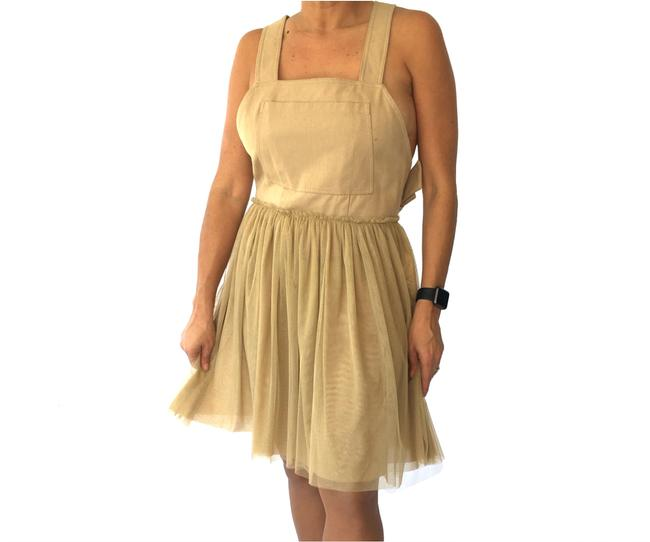 RED Valentino Shift Mini Knit Beige Brown Dress