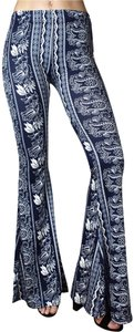 Daisy Del Sol Stretchy Bohemian Yoga Bell High Waisted Flare Pants Navy White