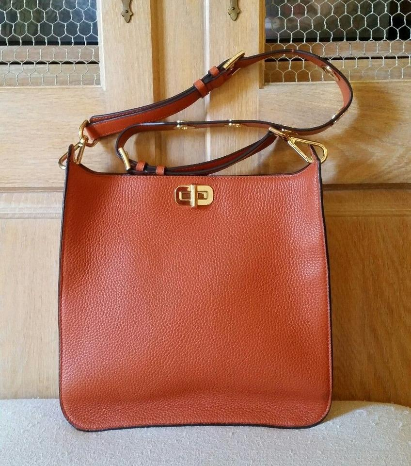 3f6cc3d7bbbf MICHAEL Michael Kors Sullivan Mk Leather Orange Messenger Bag Image 11.  123456789101112