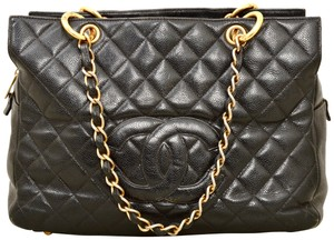 Chanel Quilted Caviar Caviar Leather Gst Tote in Black