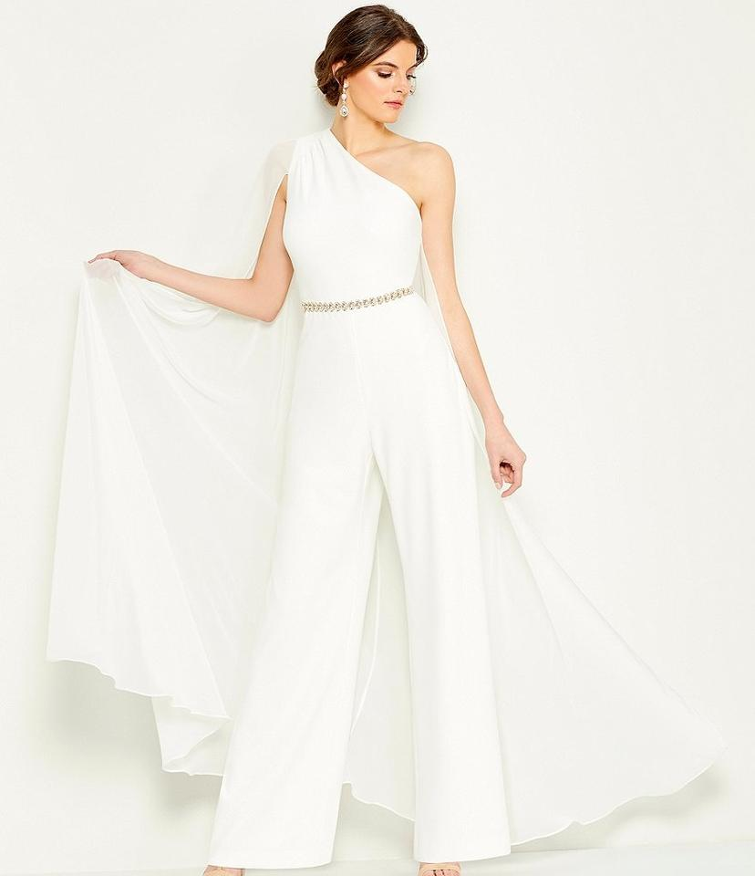 Calvin Klein White Chiffon One Shoulder Capelet Jumpsuit Modern Wedding Dress Size 12 L