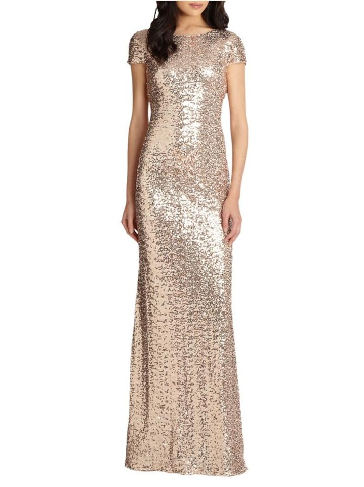 Badgley Mischka Rose Gold Sequin Gown Long Formal Dress Size 2 (XS ...