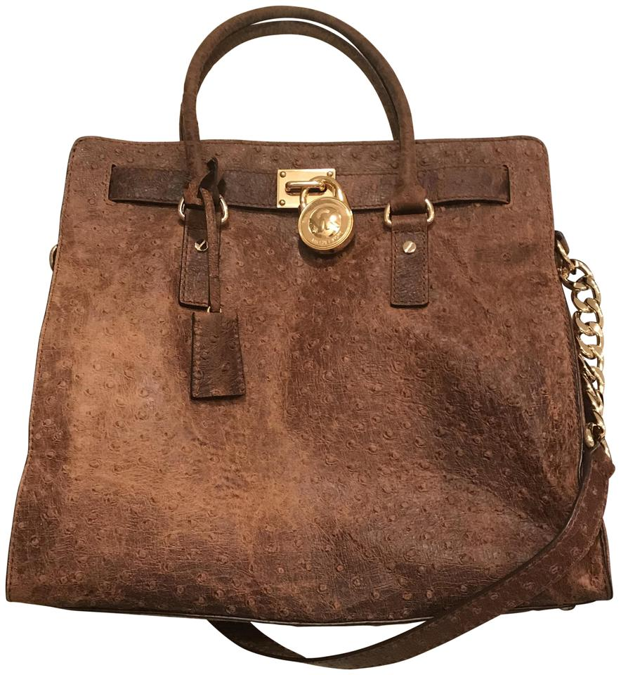 d2194cc75cde Michael Kors Hamilton North South Large Satchel Shoulder Distressed Mocha  Brown Ostrich Embossed Leather Tote
