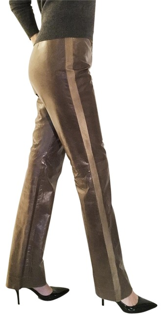 Item - Khaki-brown New Real Leather Side-stripe Track Straight-leg Pants Size 12 (L, 32, 33)