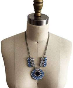 Ann Taylor LOFT Blue and Silver Statement Necklace