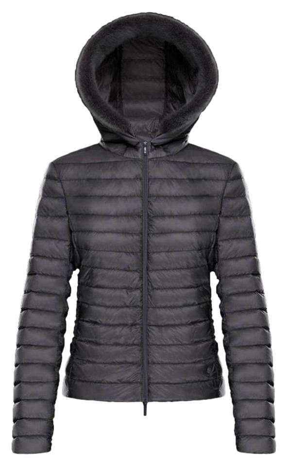 97a900d07cdd6 Moncler Grey Sorbus Genuine Mink Fur Trim Quilted Jacket Activewear ...