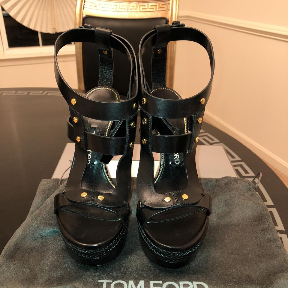 d8d2ae95eba Tom Ford Black Sculptural Heel Wedges Size US 8.5 Regular (M