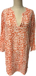 J.Crew V-neck 3/4 Sleeve Button Down Shirt Orange & White