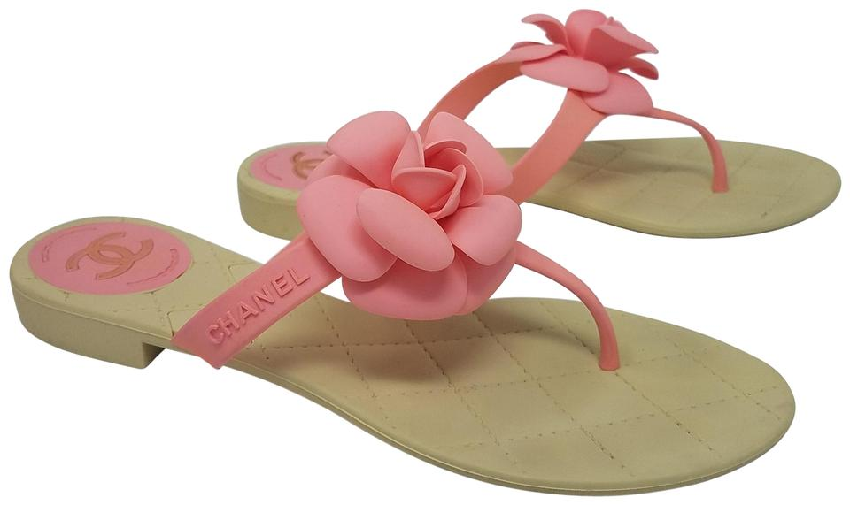 cd28111619d Chanel Pink Ivory Rubber Camellia Logo Sandals Size EU 39 (Approx ...