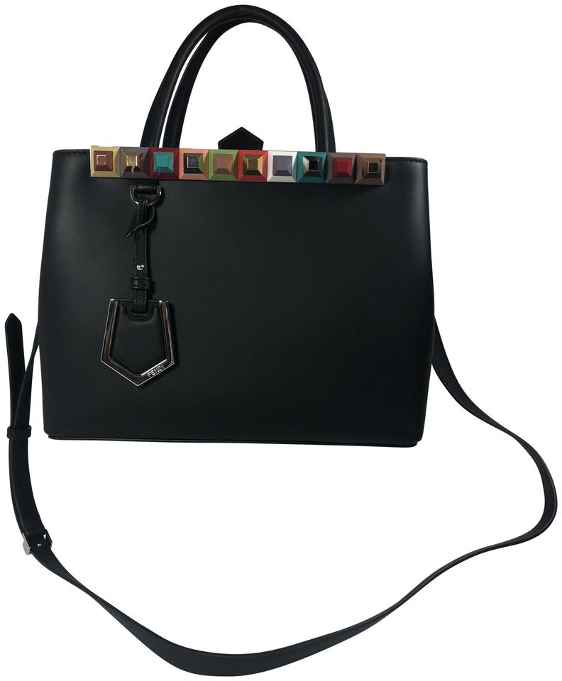 6a098a73d4ef Fendi Petite 2jours Studded Calfskin Shopper Black Leather Shoulder Bag